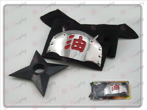 Naruto Shuriken marked headband + Black (two-piece)