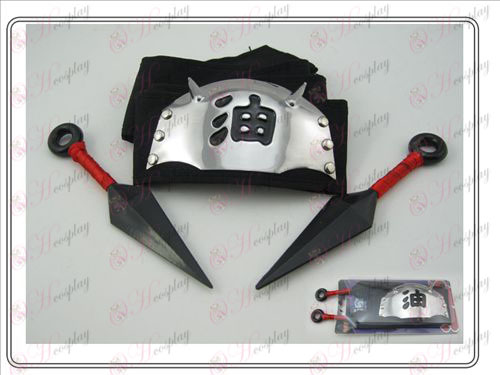 Naruto headband + dual red black oil having no (three-piece)
