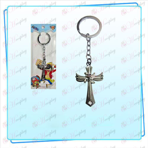 One Piece Accessories Robin flag wing cross key ring