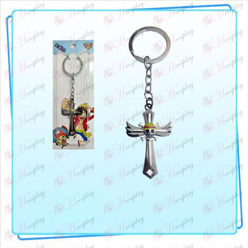 One Piece Tilbehør Luffy flag vinger Cross nøglering