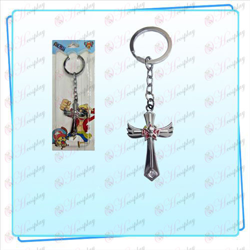 One Piece Accessories Frankie logo key ring wing cross