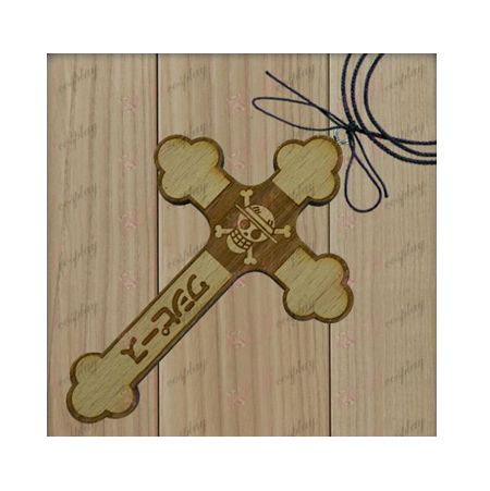 שרשרת One Piece אבזרים-לופי גולגולת צלב עץ