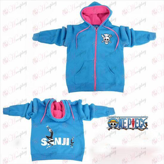 One Piece Tilbehør Sunkist logo lynlås hoodie blå trøje