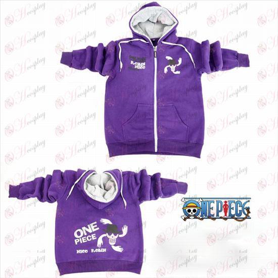 One Piece Tilbehør Robin logo lynlås hoodie purple Wei