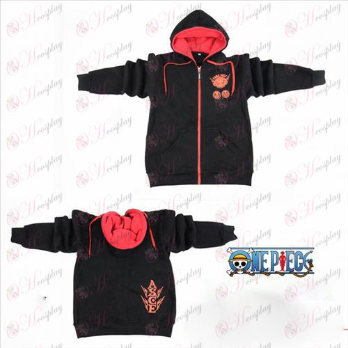 One Piece accessoires Ice logo zipper hoodie noir méthodiste