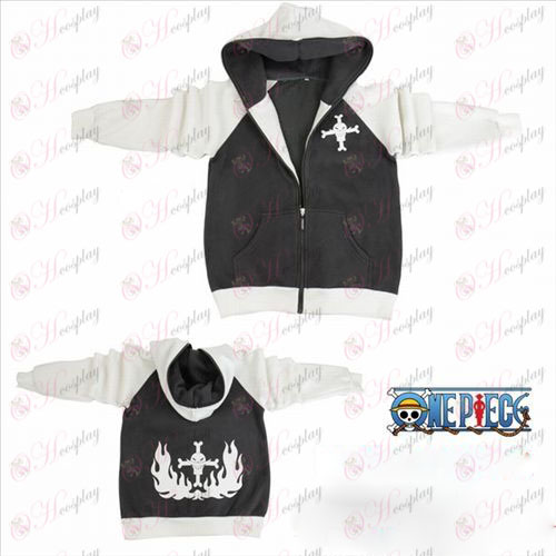 One Piece Tilbehør gaffel ærme hvidt skæg logo lynlås hoodie trøje