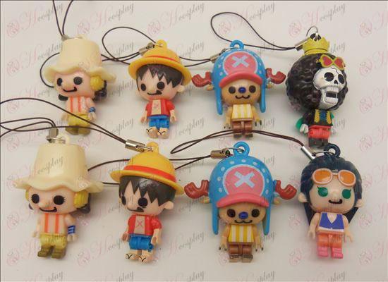 8 modeller One Piece tillbehör Doll Mobil Strap (Usopp) lös