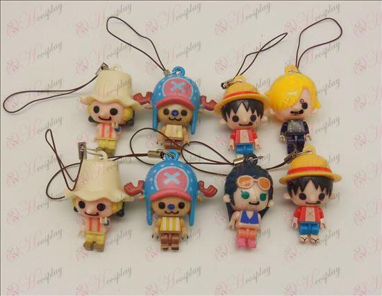 8 modeller One Piece tillbehör Doll Mobil Strap (tre governance) lös