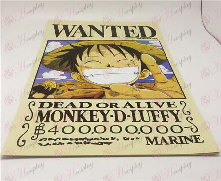 42 * 29cmOne Piece Accessories Wanted 9 + card affixed posters