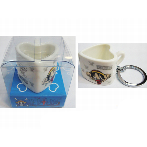 One Piece Accessories Heart Shaped Ceramic Cup Keychain
