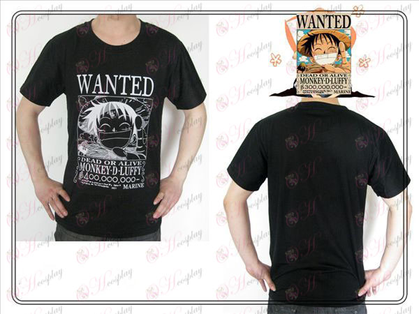 One Piece Dodatki Luffy Wanted T-shirt (črna)