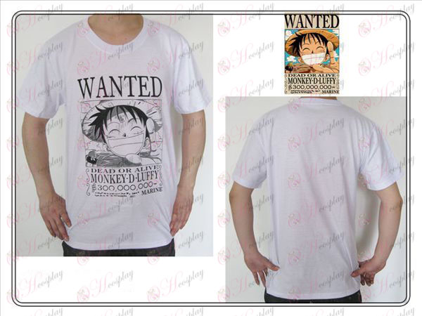 One Piece Dodatki Luffy Wanted T-shirt (bela)