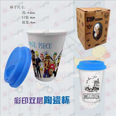 Doppia tazze in ceramica di colore (One Piece Accessori)