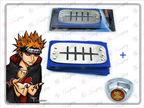 Naruto Payne blå pannebånd + null ord Ring Samlerutgave