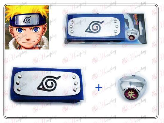 Naruto Konoha bandana azul + Edição de Colecionador Zhu Zi Anel