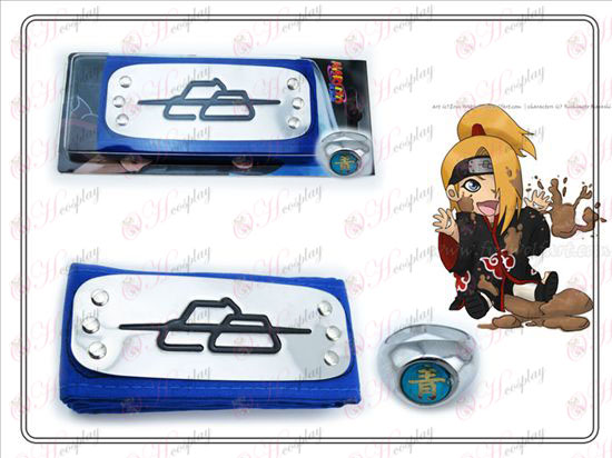 Naruto Deidara blue headband + green word Ring Collector's Edition