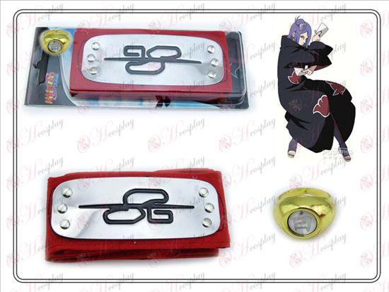 Naruto bandeau + Cinq petits Anneau Blanc Rouge du Sud