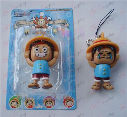 One Piece Accessories Luffy doll face (blue) Large