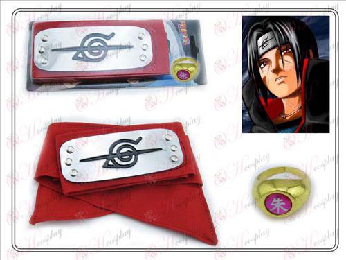 Naruto rebel zhovievavosť červená čelenka + Päť Zhu Zi krúžok