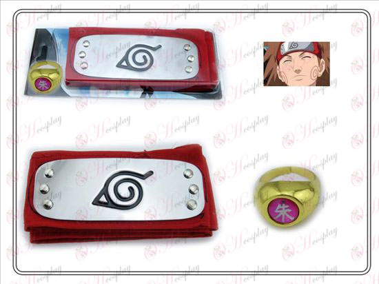 Naruto konoha red headband + Five Zhu Zi Ring