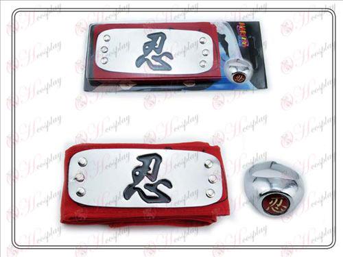 Naruto svart och rött pannband + Fem tålamod tålamod ordet ring