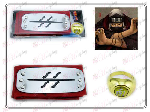 Naruto kisame red headband + Five Nan Zi Ring