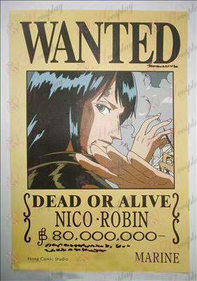 42 * 29One Piece Accessories embossed Robin wanted posters (photos)