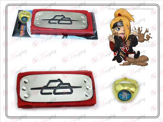Naruto Deidara red headband + Five Qing Zi Ring