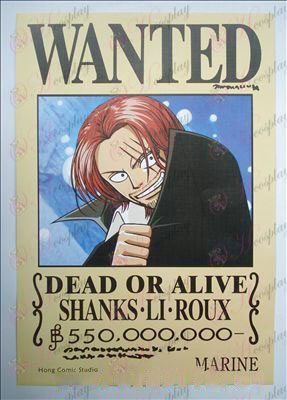42 * 29 red-haired Shanks arrest warrant embossed posters (photos)