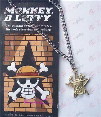 One Piece Kiegészítők pentagram koponya nyaklánc 32-6A (réz)