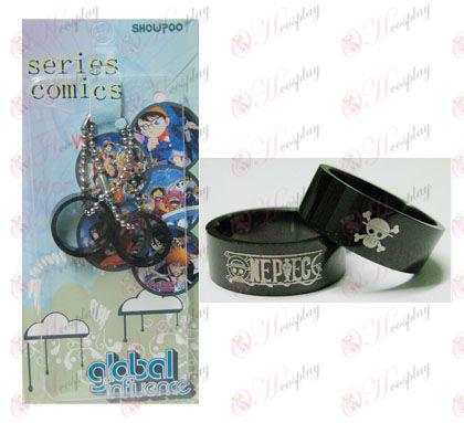 One Piece Accesorios tarjeta instalada negro par anillos de acero