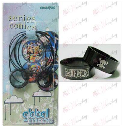One Piece Accesorios negro par de acero de collar de anillos (cuerda)