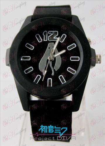 Hatsune цветни мигащи светлини часовници - Black