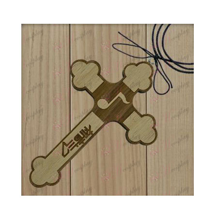 Hatsune - note flags wooden cross necklace