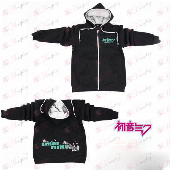 Hatsune Miku Accessories logo zipper sweater hoodie black