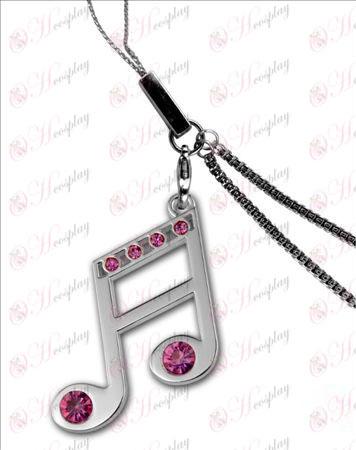 Hatsune - 16. opomba z diamantno telefonsko verige 925 srebro