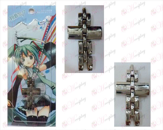 Hatsune black and white cross necklace
