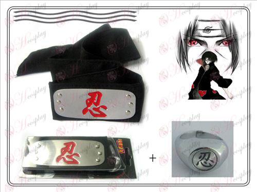 Naruto fascia + anello rosso sopportazione (Bianco)