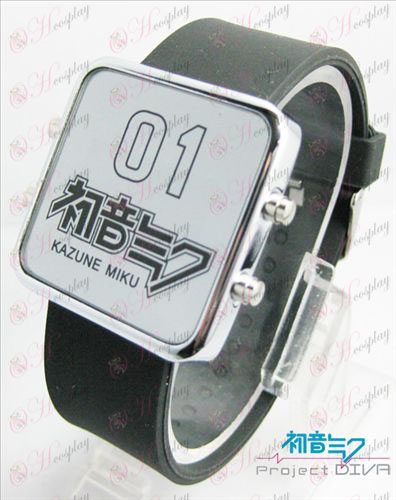 Hatsune Miku Accessories thin cold shield red LED watch - classic black strap