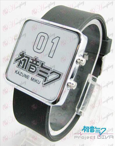 Hatsune Miku Accessoires dunne koude schild rode LED horloge - klassiek zwart bandje