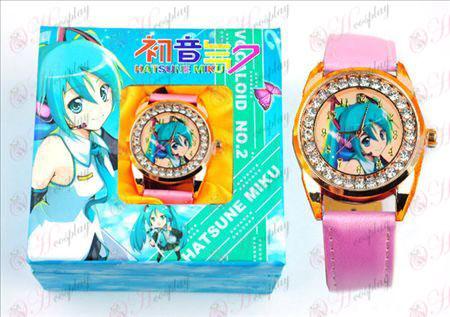 Hatsune ρολόι διαμαντιών (κίτρινη γραμμή)