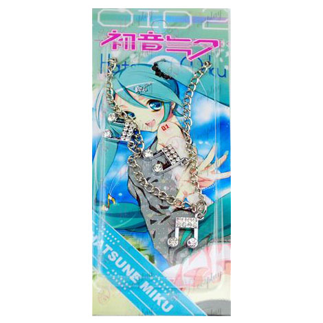 Card installed Hatsune notes three diamond pendant necklace
