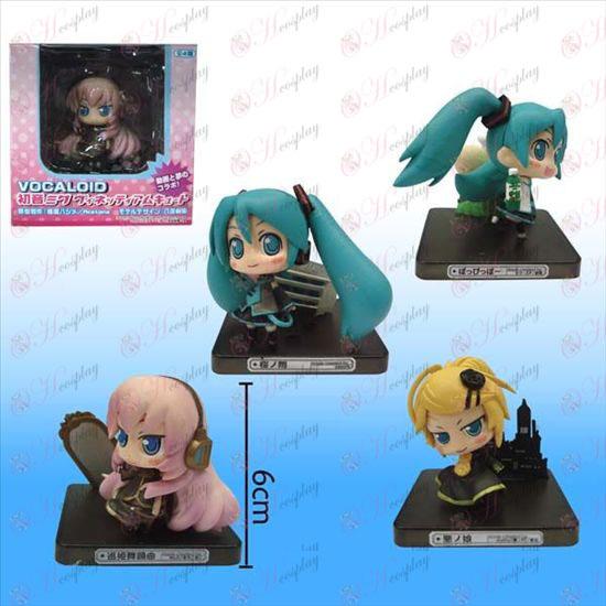 4 modellen Hatsune zwarte vloer doll (sets)