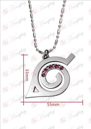 Naruto - Konoha zászló gyémánt nyaklánc (rózsaszín gyémánt)