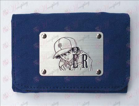 테니스 용품의 왕자 흰색 캔버스 지갑 (블루)