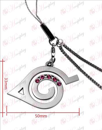 Naruto - konoha flag with diamond phone chain (pink diamond)