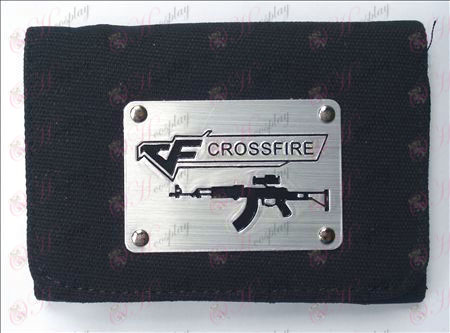 CrossFire Accessories White Canvas Wallet (Black)