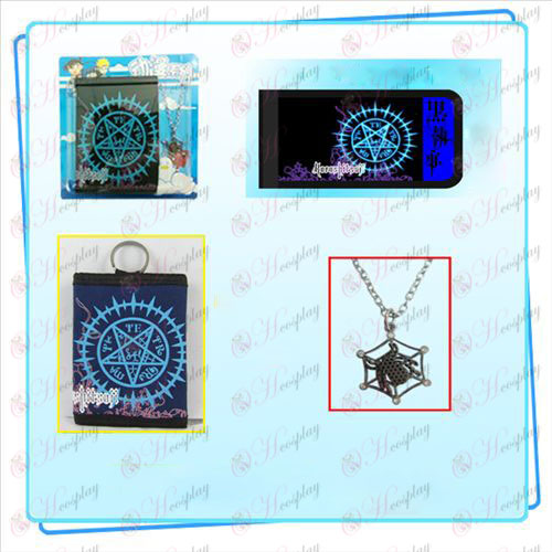 Black Butler Accessories Compact logo necklace fold wallet combo (necklace random distribution)