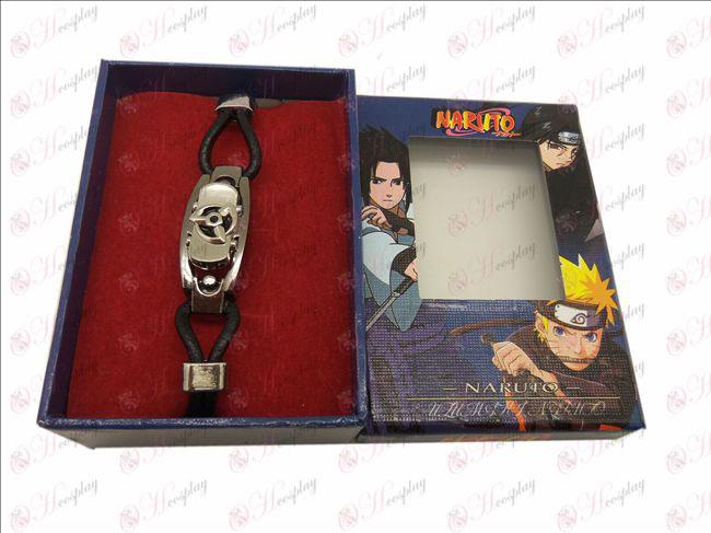 D Naruto écrire yeux ronds bracelet en cuir