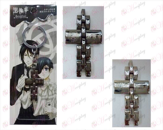 Black Butler Accessories black and white cross key chain